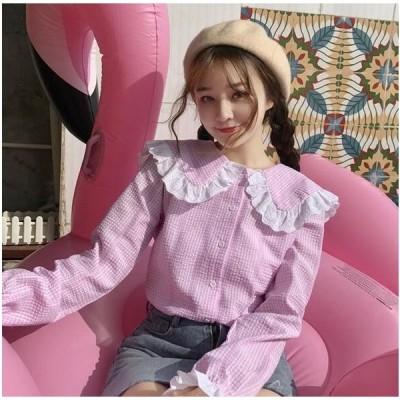 2枚送料無料 森ガール可愛い長袖シャツ レース フレア 日系ロリータ風 中高生 美少女ウェア女子高校生ブラウス マリン風レース襟 ピンク ブルー