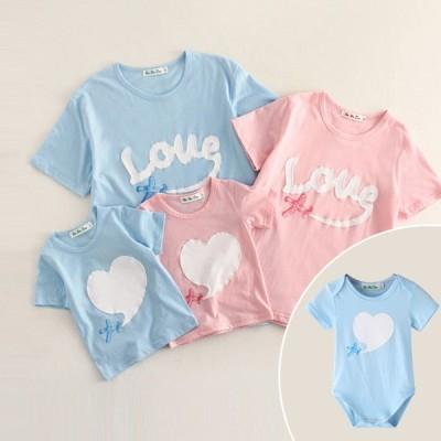 親子半袖tシャツ夏純綿トレーナーTシャツ、ペアルック、カップル、親子服お揃いパパママ子供家族旅行