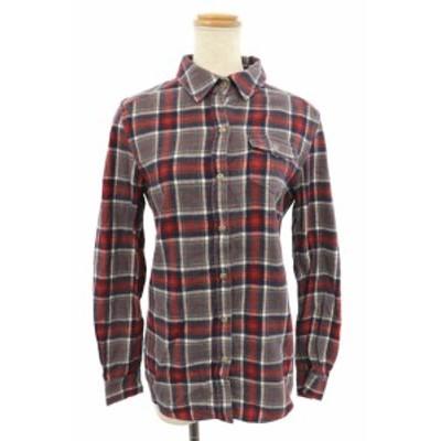 【中古】レイビームス Ray Beams QUALITY CLOTHES ネルシャツ 長袖 ステンカラー チェック エルボーパッチ グレー レディース