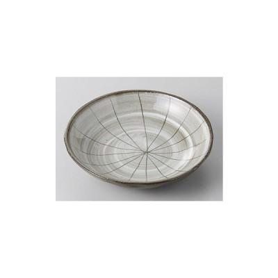 中皿 丸皿 黒陶白刷毛十草彫平鉢 14cm 和食器 業務用 美濃焼 9a250-11-45g
