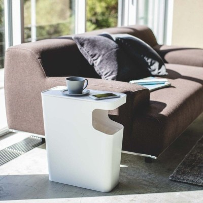 ダストボックス & サイドテーブル タワー  角型  2色  スタイリッシュ ゴミ箱 テーブル MIRAGE-STYLE 3988(W) 3989(B) YZ