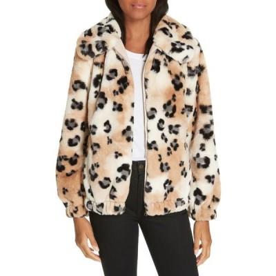レベッカテイラー レディース ジャケット&ブルゾン アウター Faux Fur Cheetah Coat CREAM COMB
