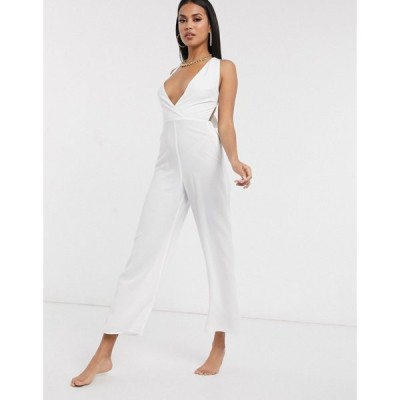 ファッションユニオン Fashion Union レディース オールインワン ジャンプスーツ ワンピース・ドレス plunge front beach jumpsuit in white ホワイト