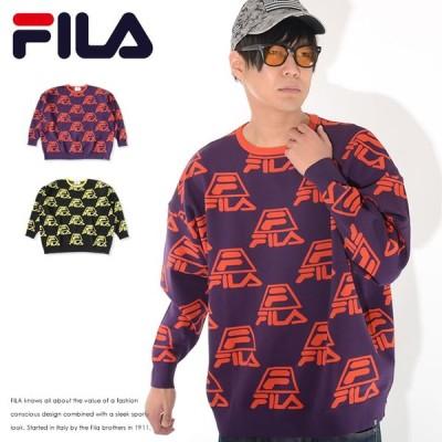 FILA フィラ ニット セーター クルーネック 総柄 マルチロゴ (FM9715) セール