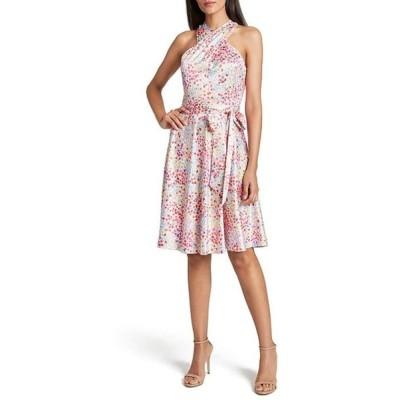 タハリエーエスエル  レディース ワンピース トップス Petite Size Twist Halter Neck Sleeveless Dot Printed Tie Waist Dress