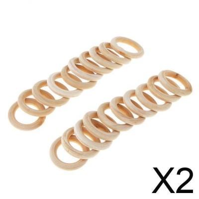 DIY工芸品装飾用木製歯がためリングを作る2x20PcsDIYジュエリー30mm