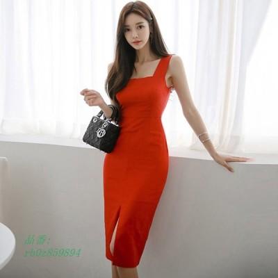 赤 キャミワンピース 膝丈 タイトワンピース スリット セクシー 韓国風 大人 30代 無地 20代 ワンピース ひざ丈 ドレス キャバドレス