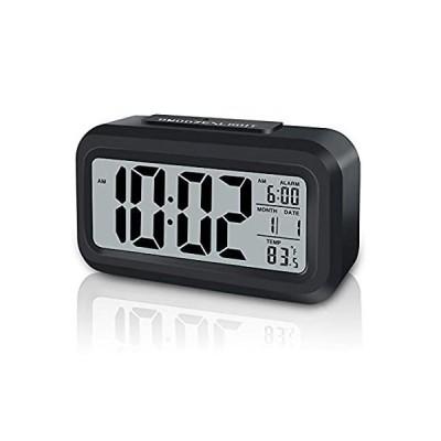 GLOUE デジタル目覚まし時計 電池式 屋内温度使用 スマートナイトライト スヌーズ/日付/12/24時間表示 寝室/旅行/デスク用 小型時計 (ブ
