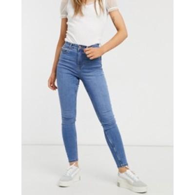 ニュールック レディース デニムパンツ ボトムス New Look lift and shape skinny jeans in mid blue Mid blue