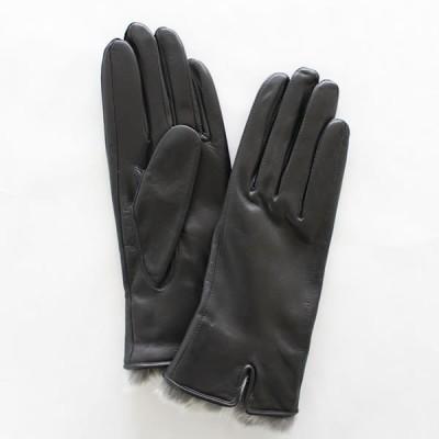 レディース(婦人)羊革手袋(グローブ)ラビットファー ブラック 「美指-UTSUKUSHI(ウツクシ)」シリーズ