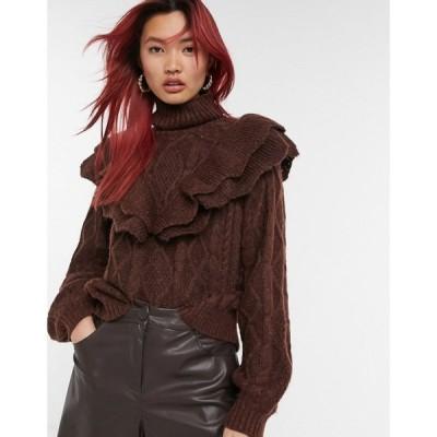 ワイ エー エス Y.A.S レディース ニット・セーター タートルネック トップス knitted jumper with ruffle detail and turtle neck in brown ブラウン