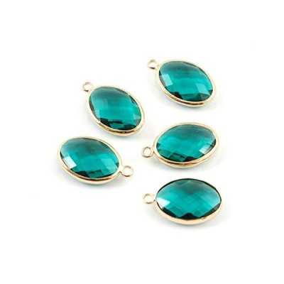 10pcs May Emerald Green Birthstone Charms 18mm Gold Plated Brass Austrian Crystal Beads for Jewelry Craft Making CCP6-G5