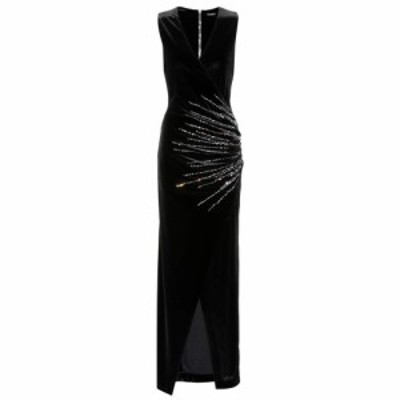 バルマン Balmain レディース ワンピース ワンピース・ドレス Embellished velvet dress Noir/Irise 5124C