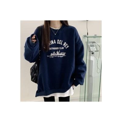 【送料無料】~ 冬 学生 韓国風 ルース 文字の印刷 裏起毛 ラウンドネックセーター | 346770_A64034-5919605