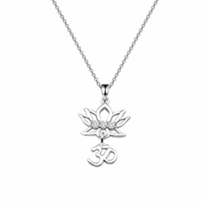 bobauna Yoga Lotus Flower Aum Om Ohm Sanskrit Symbol Pendant Necklace Spiritual Jewelry Gift For Yogi Yoga Lover (Lotus Om neckl