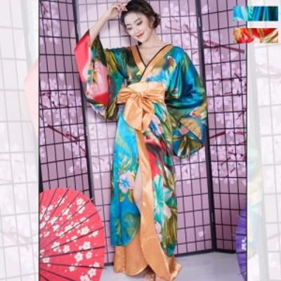 着物ドレス ロング 花魁 コスプレ衣装 花魁コスプレ 祭り 送料無料 グラデーションフラワープリントゴージャス着物ロングドレス