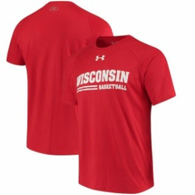 Under Armour アンダー アーマー スポーツ用品  Under Armour Wisconsin Badgers Red Basketball Tech Performance T-Shirt