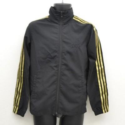 adidas / アディダス ◆ナイロンジャケット/ジャージ上/ゴールドライン/ブラック/サイズS メンズ 【古着】 【中古】
