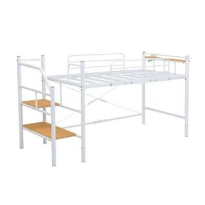 ミドル階段ロフトベッド ヘッドボード付 階段付 床面高さ100 スチールメッシュ床板 シングル ホワイト色