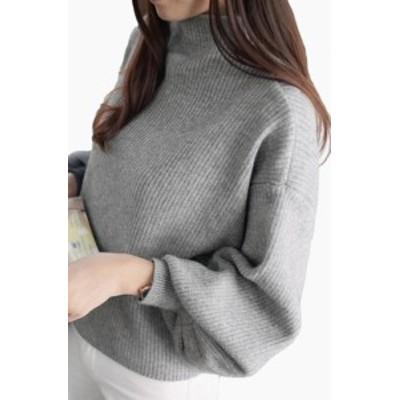 ニットセーター 秋冬 薄手 長袖 トップス バルーン袖 無地 カジュアル 通勤 大人可愛い 着痩せ 安い