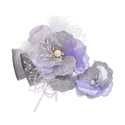 髪飾り 振袖用 -薔薇/パープル系- 大小2個セット [ 1407-1670 ] ヘアーアクセサリー 着物 きもの 成人式 はな 紫 フラワー 女性 女物 レディース
