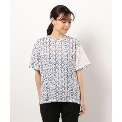 tシャツ Tシャツ FACEプリント レーススリーブTシャツ