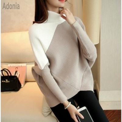 ニットセーター レディース ニット タートル襟 3色 長袖 大人 ゆったり 着やすい セーター ドルマンスリーブ 人気 秋冬