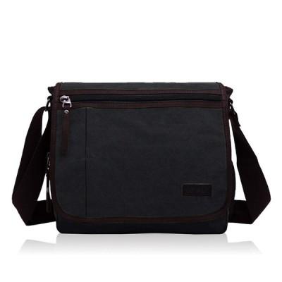 [RUDAN] ショルダーバッグ メンズ 斜めがけバッグ 大容量 肩掛け 帆布 カバン (ブラック)