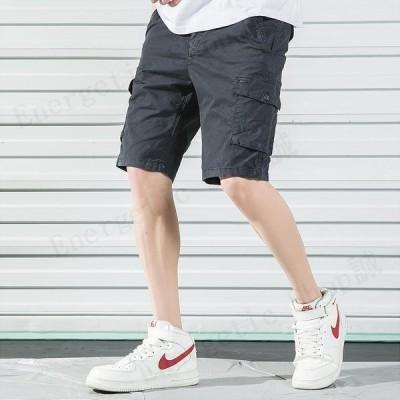 カーゴパンツ メンズ 短パン 無地 ストレッチ ショートパンツ 膝丈 カジュアル ゆったり 夏物