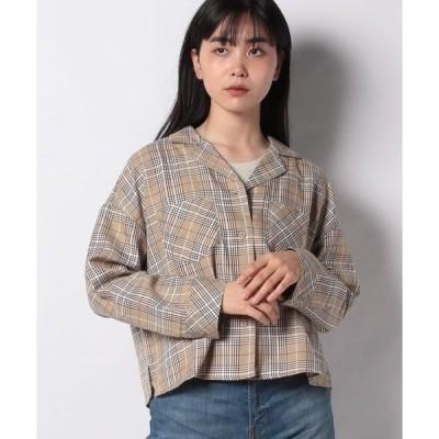 【スタイルブロック(レディース)】先染めチェック柄オープンカラー開襟ビッグシャツブラウス