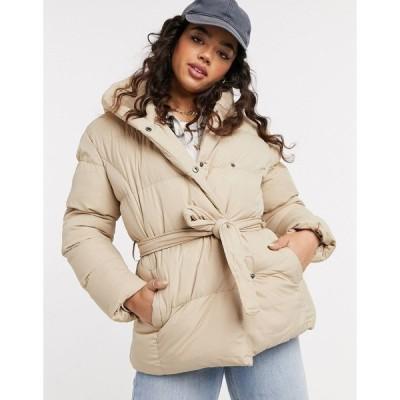 スレッドベア レディース コート アウター Threadbare stanley belted puffer coat with hood Stone