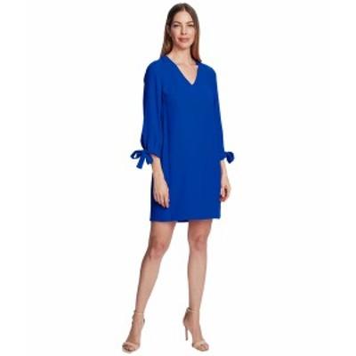 セセ レディース ワンピース トップス 3/4 Tie Sleeve V-Neck Dress Deep Royal Blue