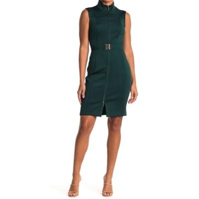 トミー ヒルフィガー レディース ワンピース トップス Sleeveless Front Zip Dress CYPRESS