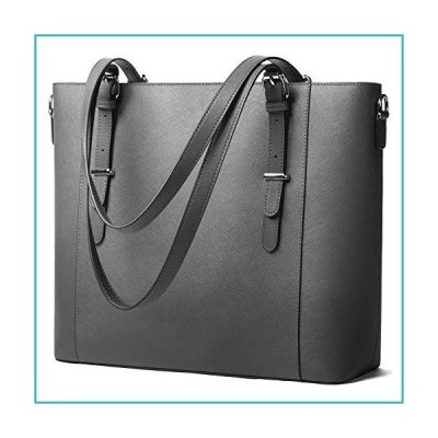 Women Leather Briefcase bag Laptop Tote Handbags 14 Inch Large Capacity Computer bags Work Purse Grey【並行輸入品】
