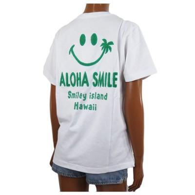 半袖 レディース Tシャツ Hulalani フララニ スマイル ニコちゃん スマイリーアロハ 刺繍 Tシャツ(レディース/グリーン)ハワイアン雑貨  サーフブランド