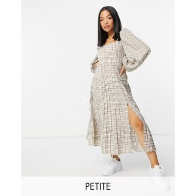 ミスガイデッド Missguided Petite レディース ワンピース マキシ丈 ワンピース・ドレス Maxi Dress In Brown Check ブラウンチェック
