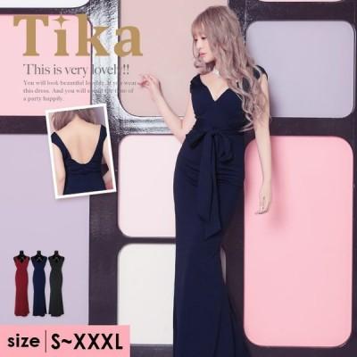 キャバドレス キャバ ドレス Tika ティカ ウエスト リボン ワンカラー 深め スリット マーメイド ロングドレス ワインレッド ネイビー ブラック S M XL XXL XXXL