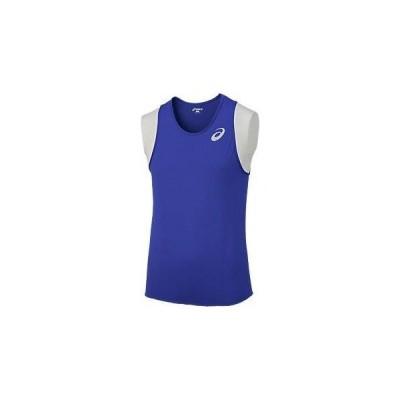 アシックス M'Sランニングシャツ 45 ブルー(xt1038-45)