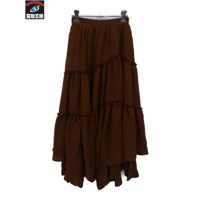 rienda ティアードヘムスカート ブラウン S