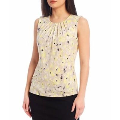 カルバンクライン レディース タンクトップ トップス Floral Print Matte Jersey Pleat Neck Sleeveless Top Khaki Combo