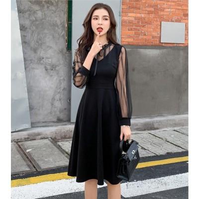 シースルー ワンピース 胸元リボン シンプル ブラック ドレス