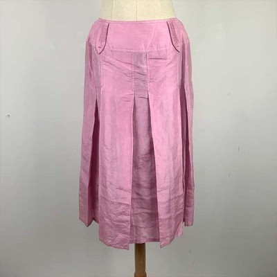 [IMPREVISTO] プリーツスカート 光沢 ボックスプリーツ ピンク レディース Lサイズ クリックポスト対応