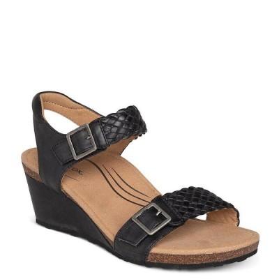 エイトレックス レディース サンダル シューズ Grace Woven Leather Wedge Sandals Black