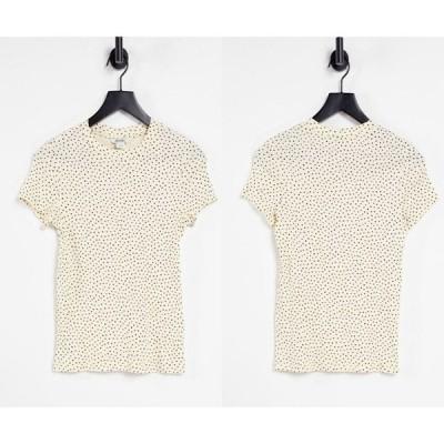 レディース 半袖 クルーネック 総柄 エイソス ASOS / Oasis オーガニックコットンスポットプリントTシャツ