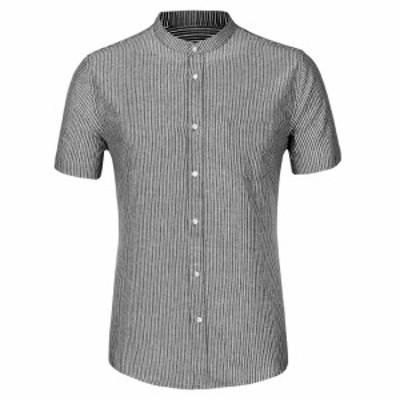 Allegra K ストライプシャツ ボタンダウンシャツ 半袖 カジュアル 夏 メンズ ブラック 34