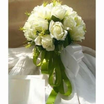 (Neustadt) ウェディングブーケ ブライダルフラワーに 清楚で かわいい 白い バラの 造花の(0384)(白)
