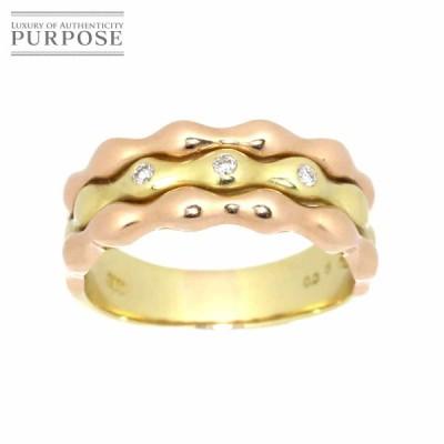 リング 14号 ダイヤ 0.06ct K18 YG PG イエロー ピンク ゴールド 750 指輪 Diamond Ring