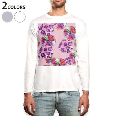 ロングTシャツ メンズ 長袖 ホワイト グレー XS S M L XL 2XL Tシャツ ティーシャツ T shirt long sleeve  花 アジサイ フラワー ピンク 014751