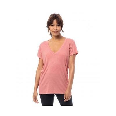Alternative オルタネイティブ レディース 女性用 ファッション Tシャツ Melange Burnout Jersey Slinky V-Neck - Rose Bloom
