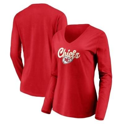 ファナティクス ブランデッド レディース Tシャツ トップス Kansas City Chiefs Fanatics Branded Women's Freehand Long Sleeve V-Neck T-Shirt